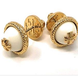New Tory Burch  rope pearl stud earrings